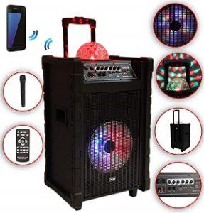 Karaoke-Anlage-mobile-PA-Lautsprecherbox-Trolley-USB-SD-MP3-Wireless-LED-DMS®-K10-10FZ-287x300